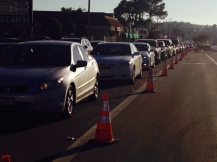 the view of angry commuters - thanks for closing down the street during rush hour for Close the Gap - Gridlock Day 2014