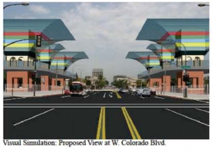 Proposed: Six 50-ft tunnel exhaust stacks at the entrance to Old Town Pasadena